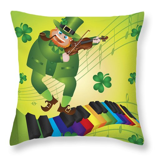 St Patricks Throw Pillow featuring the photograph St Patricks Day Leprechaun Dancing On Piano Keyboard by Jit Lim