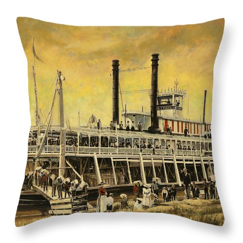 Don Langeneckert Throw Pillow featuring the painting St. Paul Steamboat by Don Langeneckert
