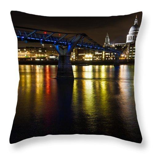 St Pauls London Throw Pillow featuring the photograph St Pauls And Millenium Bridge by Ken Brannen