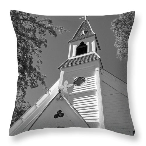 Gothic Revival Throw Pillow featuring the photograph St. Paul's Church Port Townsend In B W by Connie Fox