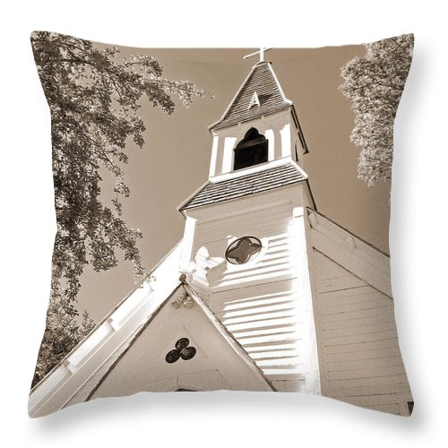 Gothic_revival Throw Pillow featuring the photograph St. Paul's Church Port Townsend In Sepia by Connie Fox