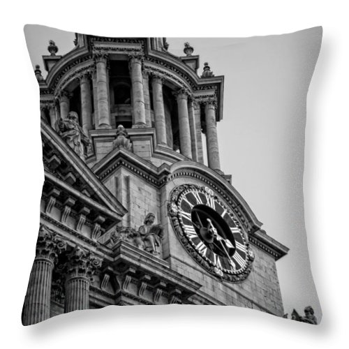 Clock Throw Pillow featuring the photograph St Pauls Clock Tower by Heather Applegate