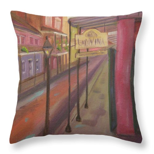 New Orleans Throw Pillow featuring the painting St. Peter Street by Lilibeth Andre