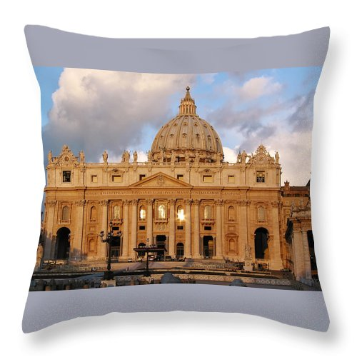 3scape Photos Throw Pillow featuring the photograph St. Peters Basilica by Adam Romanowicz