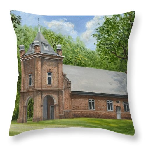 Historic Church Throw Pillow featuring the painting St. Peter's Church by Anne Kushnick