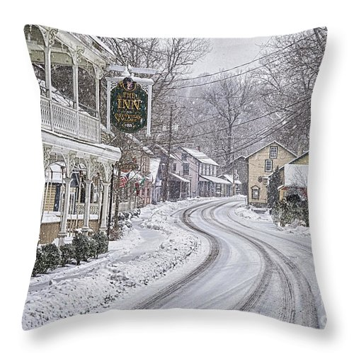 St Peters Village Snow Throw Pillow featuring the photograph St Peters Village Snow 3 by Jack Paolini