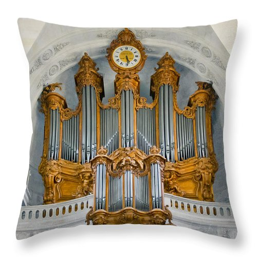 Organ Throw Pillow featuring the photograph St Roch Organ In Paris by Jenny Setchell