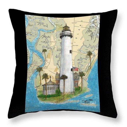 Saint Throw Pillow featuring the painting St Simons Lighthouse Ga Nautical Chart Map Art Cathy Peek by Cathy Peek
