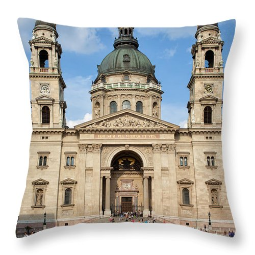 Architectural Throw Pillow featuring the photograph St. Stephen's Basilica In Budapest by Artur Bogacki
