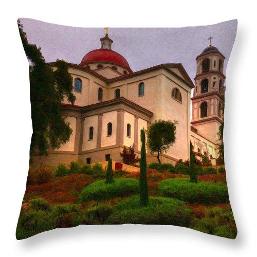 St. Thomas Aquinas Church Throw Pillow featuring the painting St. Thomas Aquinas Church Large Canvas Art, Canvas Print, Large Art, Large Wall Decor, Home Decor by David Millenheft