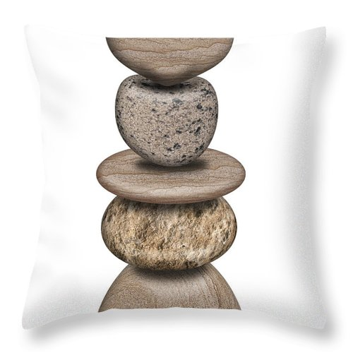 Stack Throw Pillow featuring the photograph Stack Of Balanced Rocks With Heart by David Gn