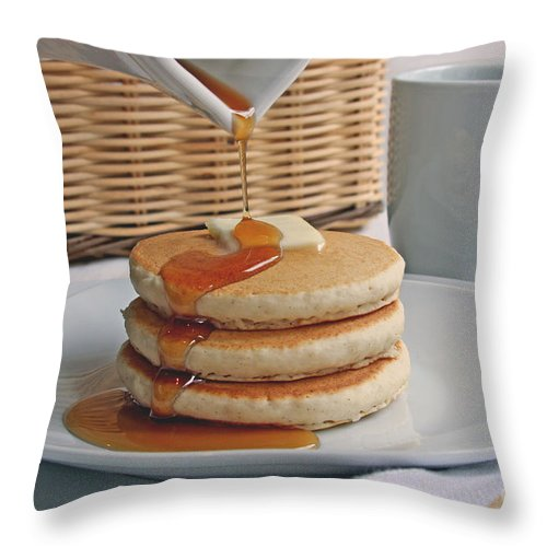 Food Throw Pillow featuring the photograph Stack Of Pancakes by Jayne Carney