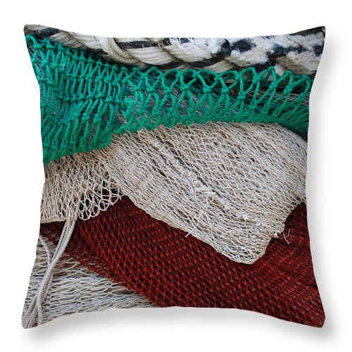 Adriatic Sea Throw Pillow featuring the photograph Stacked Nets And Ropes by Ulrich Kunst And Bettina Scheidulin