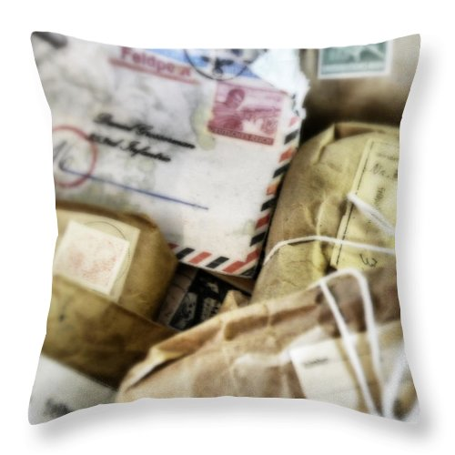 Soldier Throw Pillow featuring the photograph Stacks Of Old Mail Tied Together by Birgit Tyrrell