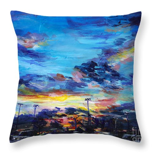 University Of Maryland Throw Pillow featuring the painting Stadium Sunset by Roni Meunier
