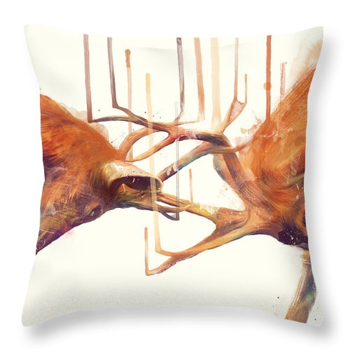 Stags Throw Pillow featuring the painting Stags // Strong by Amy Hamilton