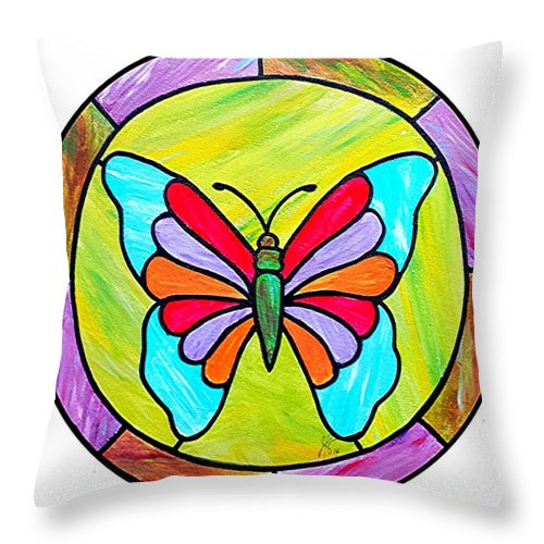 Butterfly Throw Pillow featuring the painting Stained Glass Butterfly by Jim Harris