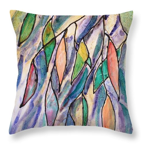 Leaves Throw Pillow featuring the painting Stained Glass Leaves #2 by Barbara Tibbets