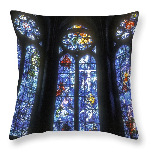 Rheims France Cathedral Interior Interiors Cathedrals Church Churches Stained Glass Window Windows Place Of Worship Places Of Worship City Cities Cityscape Cityscape Architecture Art Work Works Of Art Throw Pillow featuring the photograph Stained Glass Triplets by Bob Phillips