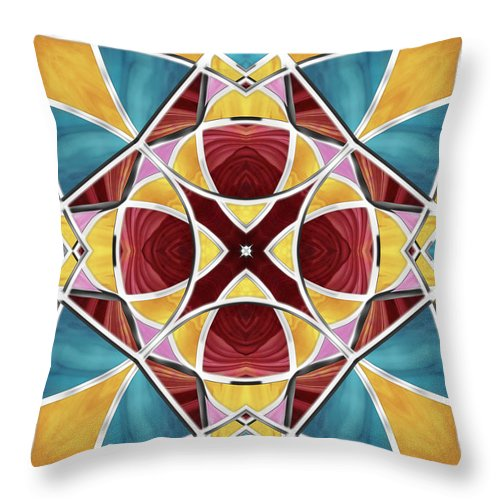 Stained Glass Throw Pillow featuring the digital art Stained Glass Window 5 by Shawna Rowe