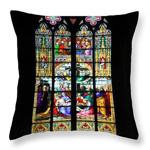 Gothic Style Throw Pillow featuring the photograph Stained Glass Window In Cologne by Julian Elliott Photography