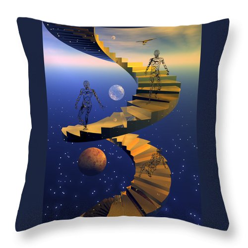Bryce Throw Pillow featuring the digital art Stairway To Imagination by Claude McCoy