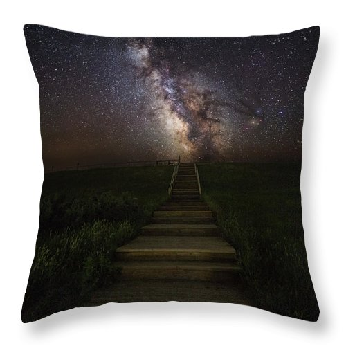 #aaron Groen #canon #milky Way #usa #astronomy #astrophotography #cosmos #dark Places #dark Rift #darkness #flashlight #galactic Center #galaxy #great Rift #heavens #homegroen Photography #landscape Astrophotography #nebula #nightsky #path#homegroenphotography.com Throw Pillow featuring the photograph Stairway To The Galaxy by Aaron J Groen
