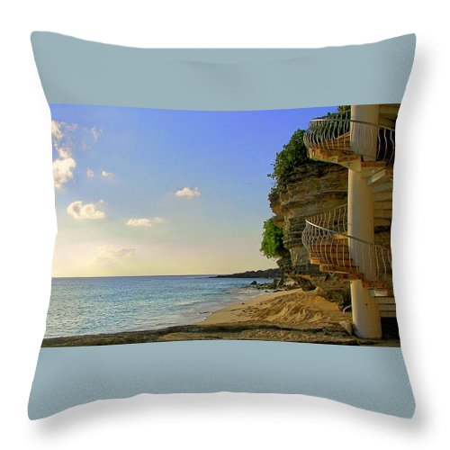 Seascapes Throw Pillow featuring the photograph Stairway To The Sea by Karen Wiles