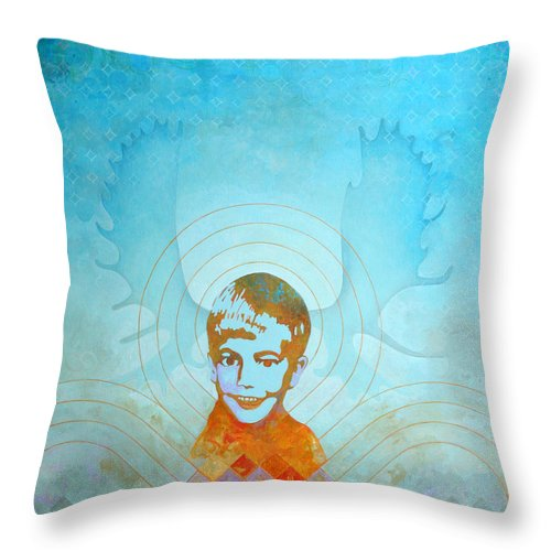 Fine Art Throw Pillow featuring the painting Stand By by Sandra Cohen