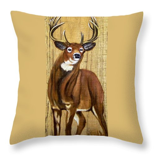 Deer Throw Pillow featuring the painting Standing Buck by Debbie LaFrance