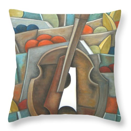Still Life Throw Pillow featuring the painting Standing Fruit Only by Trish Toro