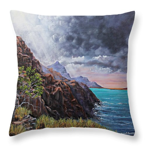 Cliff Throw Pillow featuring the painting Standing On The Solid Rock by Julie Townsend