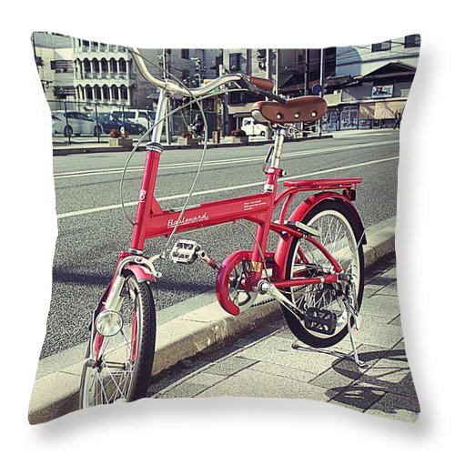 Red Bicycle Throw Pillow featuring the photograph Standing Red Bike by Javier Gomez