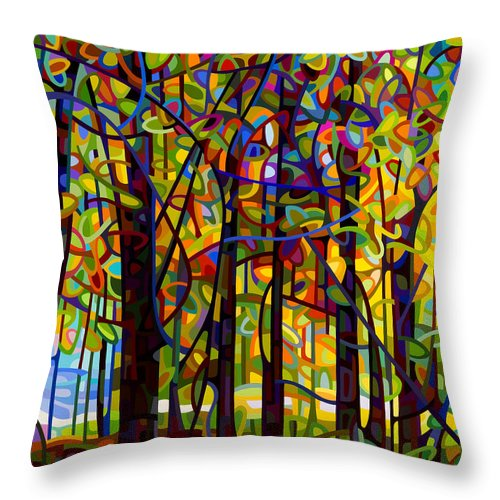 Landscape Throw Pillow featuring the painting Standing Room Only by Mandy Budan