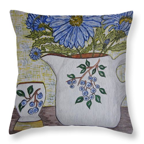 Stangl Blueberry Pottery Throw Pillow featuring the painting Stangl Blueberry Pottery by Kathy Marrs Chandler
