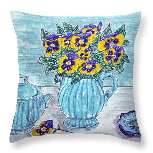 Stangl Pottery Throw Pillow featuring the painting Stangl Pottery And Pansies by Kathy Marrs Chandler