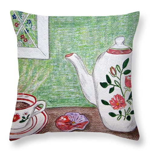 Stangl Pottery Throw Pillow featuring the painting Stangl Pottery Rose Pattern by Kathy Marrs Chandler