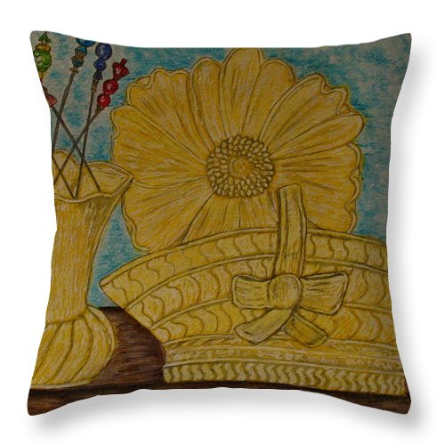 Stangl Pottery Throw Pillow featuring the painting Stangl Pottery Satin Yellow Pattern And Vintage Hat Pins by Kathy Marrs Chandler