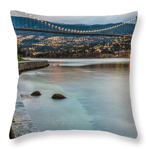 Beautiful Throw Pillow featuring the photograph Stanley Park Seawall View by James Wheeler