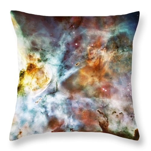 Universe Throw Pillow featuring the photograph Star Birth In The Carina Nebula by Jennifer Rondinelli Reilly - Fine Art Photography