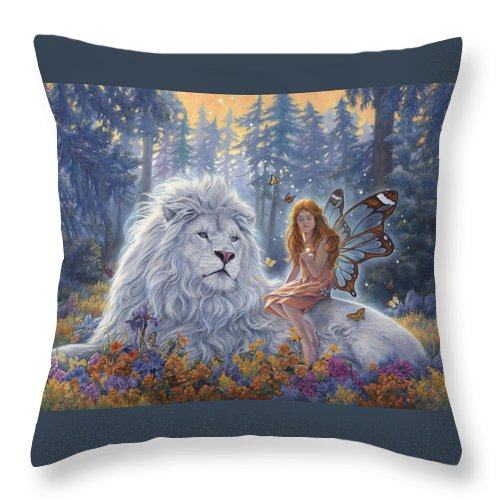 White Lion Throw Pillow featuring the painting Star Birth by Lucie Bilodeau