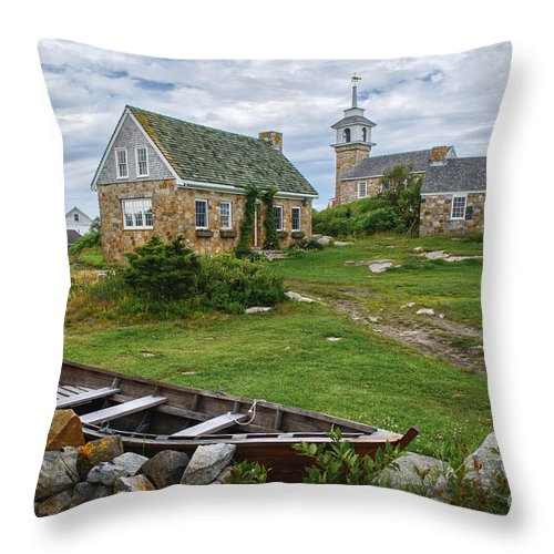 Portsmouth Nh Throw Pillow featuring the photograph Star Island Dory by Scott Thorp