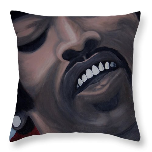 Guitar Legend Throw Pillow featuring the painting Star Spangled Jimi by Dean Stephens