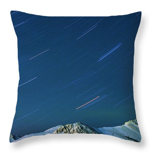 Star Throw Pillow featuring the photograph Star Trails Over The Chugach Mountains by Ronnie Glover
