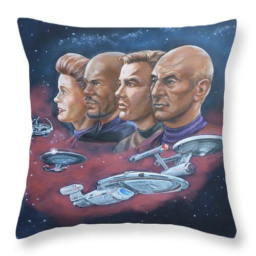 Star Trek Throw Pillow featuring the painting Star Trek Tribute Captains by Bryan Bustard