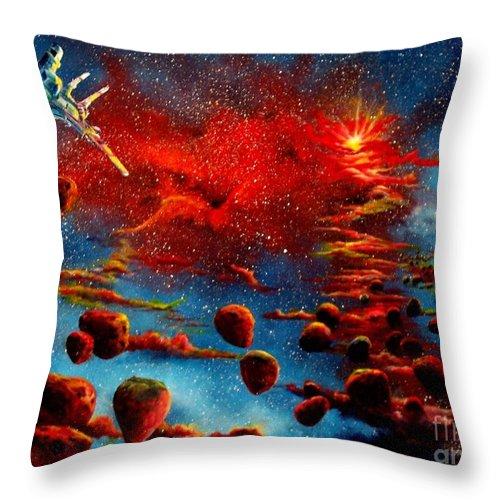 Nova Throw Pillow featuring the painting Starberry Nova Alien Excape by Murphy Elliott