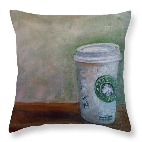 Starbucks Coffee Throw Pillow featuring the painting Starbucks Coffee by Mohita Bhatnagar