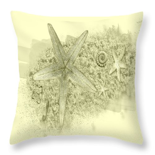 Starfish Tentacles Throw Pillow featuring the digital art Starfish by Debra Miller