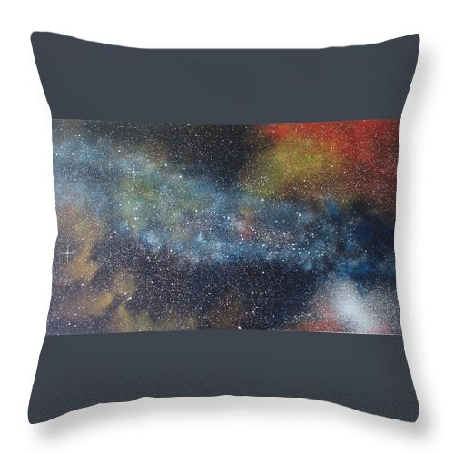 Space;stars;starry;nebula;spiral;galaxy;star Cluster;celestial;cosmos;universe;orgasm Throw Pillow featuring the painting Stargasm by Sean Connolly