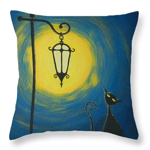 Acrylic Throw Pillow featuring the painting Starry Cat Night by Mike Grega